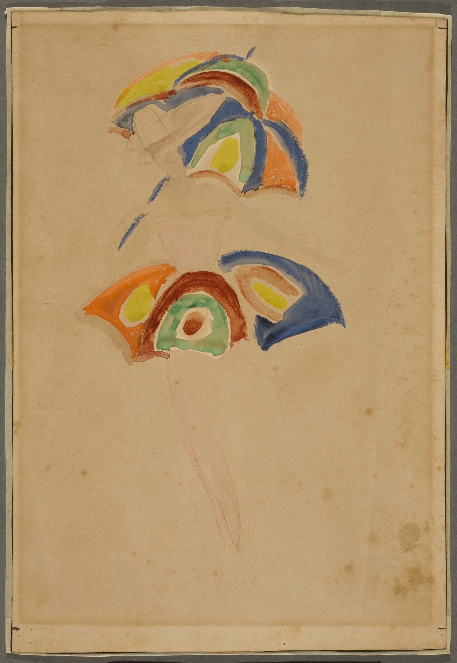 Sonia Delaunay (Sarah Stern) - Esquisse costume avec parapluie (Boceto de  traje con paraguas)