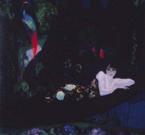Anglada Camarasa. Sonia de Klamery (echada), 1913 ca.) Óleo sobre lienzo, Soporte: 187 x 200 cm / Con marco: 198,5 x 212,5 cm
