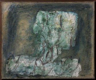 Jean Fautrier. L'arbre vert (El árbol verde), 1942. Técnica mixta sobre papel pegado a arpillera, 53,5 x 64 cm