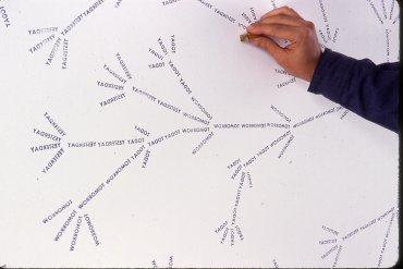 Uno de los organogramas de José Damasceno intervenido por el propio artista. Museo Reina Sofía, 2008
