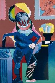 Luis Gordillo. Caballero cubista aux larmes, 1973. Acrílico sobre lienzo, 160 x 106 x 20 cm.