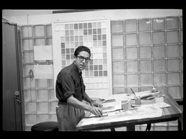 Carlos Cruz-Diez in his design studio. Momento magazine, Caracas, 1957. © Estate of Carlos Cruz-Diez, Bridgeman Images, 2021