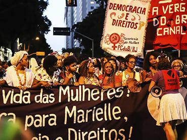 María Magdalena Arréllaga. Activistas y organizaciones por los derechos de las mujeres pidiendo justicia para Marielle Franco. Río de Janeiro, 2019