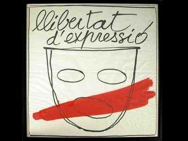 """Fabià Puigserver, drawing for the """"Llibertat d'expressió"""" campaign, 1977 Centre de Documentació i Museu de les Arts Escèniques (MAE) del Institut del Teatre"""