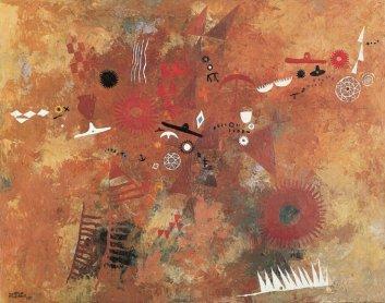 Manuel Millares. Aborigen nº1, 1951. 75x95 cm. Óleo sobre lienzo. C.A.C. Bodegas Vega Sicilia, S.A. - Museo Patio Herreriano, Valladolid