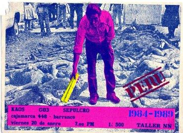 Taller NN. Cartel del concierto de la banda Kaos, 1989. Cortesía Archivo Alfredo Márquez