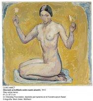 Cuno Amiet. Kneeling Nude on Yellow Ground, 1913