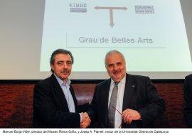 El director del Museo Reina Sofía, Manuel Borja-Villelel, y el rector de la UOC, Josep A. Planell