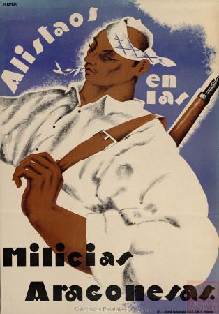 Alma Tapia, Alistaos en las milicias aragonesas, 1936. España. Ministerio de Cultura y Deporte. Centro Documental de la Memoria Histórica. PS-CARTELES,475