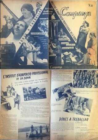 """""""Dones a treballar. L'Institut d'adaptació professional de la dona"""", Companya, n.º 10, 1 de septiembre de 1937. Barcelona: Unió de Dones de Catalunya, 1937-1938 (2 dobles páginas). Archivo Ibán Ramón"""