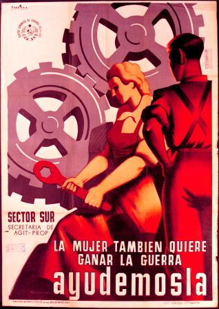 Juan José Parrilla, La mujer también quiere ganar la guerra: Ayudémosla, 1937. Fundación Pablo Iglesias. Madrid