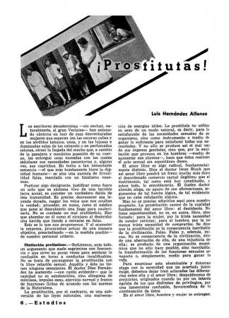"""Luis Hernández Alfonso, """"¡Prostitutas!"""", Estudios, n.º 149, enero 1936. Valencia: Estudios, [1928-1937]. Fondos del Centro de Documentación del MNCARS. Con la colaboración de la FAL y la CNT"""