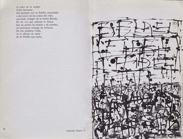 VV. AA., España canta a Cuba, París: Ruedo Ibérico, 1962, p. 62 y p. 63, ilustración, Antonio Saura. Fondos del Centro de Documentación del Museo Nacional Centro de Arte Reina Sofía (RESERVA 4750)