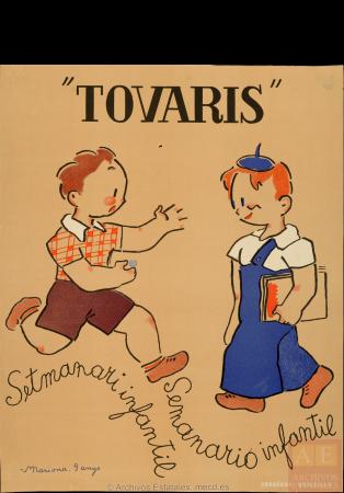 "Mariona Lluch, ""Tovaris"": setmanari infantil - semanario infantil, 1936. España. Ministerio de Cultura y Deporte. Centro Documental de la Memoria Histórica. PS-CARTELES,877"