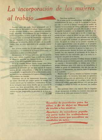"""""""La incorporación de las mujeres al trabajo"""", Mujeres libres, n.º 12, mayo de 1938. Madrid / Barcelona: Mujeres Libres, 1936-1938. Imágenes cedidas por la Confederación General del Trabajo – CGT. Con la colaboración de la FAL y la CNT"""