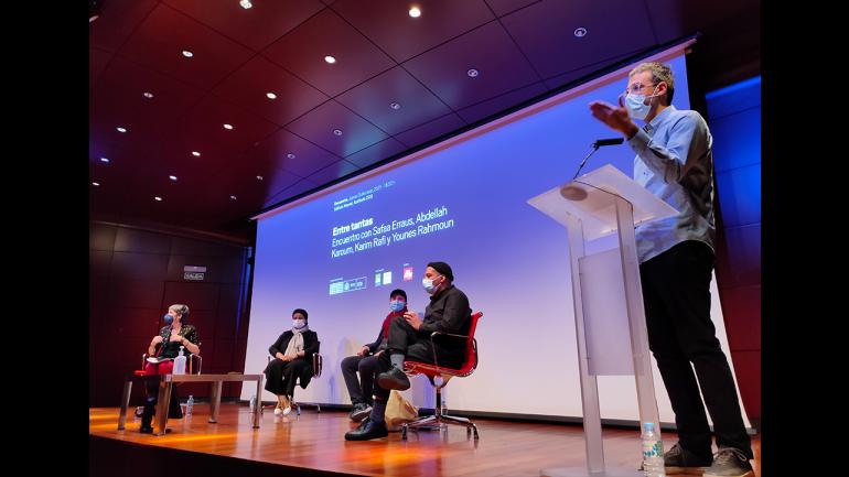 Day of the meeting Among So Many, 2021. In the image (from left to right): Susana Moliner, Safaa Erruas, Younes Rahmoun, Karim Rafi and Chema González. Photograph: Celia Maldonado