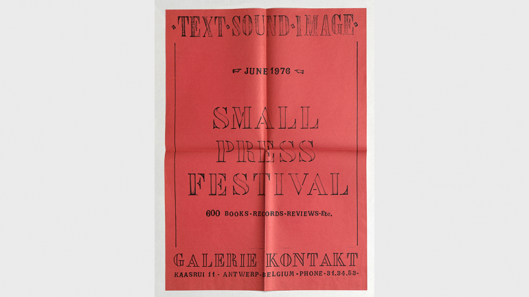 Text-Sound-Image Small Press Festival, Galerie Kontakt, Amberes. Cartel diseñado por Guy Schraenen, 1976