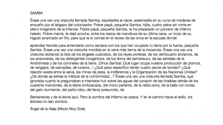 Ángel de la Aleja (Mbolo Moy Dole), Samba, 2020