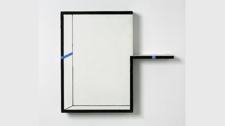 Edward Krasiński, Interwencja, 1990. Acrilic on fiber panel, wood and blue ribbon. © Grażyna Kulczyk Collection. Photography: Bartek Buśko
