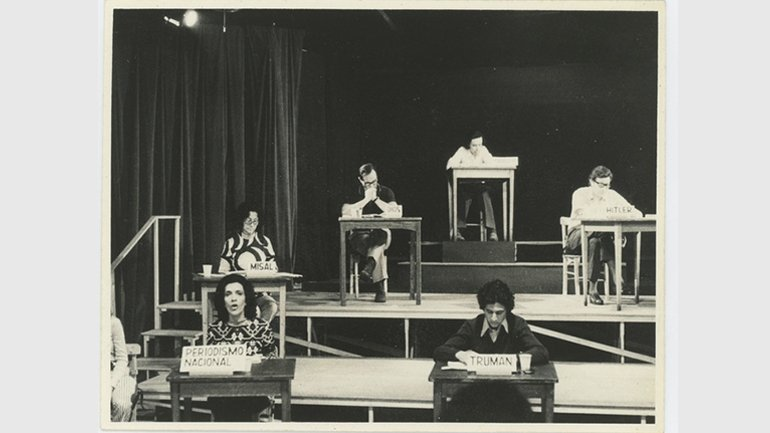 "The staging of Operativo: ""Pacem in Terris"", 1972. An adaptation of León Ferrari's The Words of Others, directed by Pedro Asquini in the Teatro Larrañaga. The Adriana Banti archive, Buenos Aires"