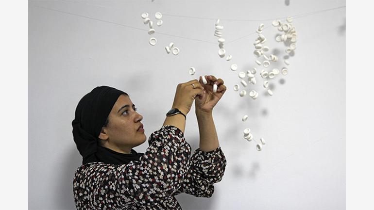 Safaa Erruas en su taller de Tetuán, Marruecos, 2014