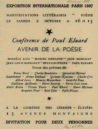 Tarjeta de invitación para la lectura de poemas de Paul Eluard Avenir de la poésie, 1937. Biblioteca y Centro de Documentación, Museo Nacional Centro de Arte Reina Sofía, Madrid