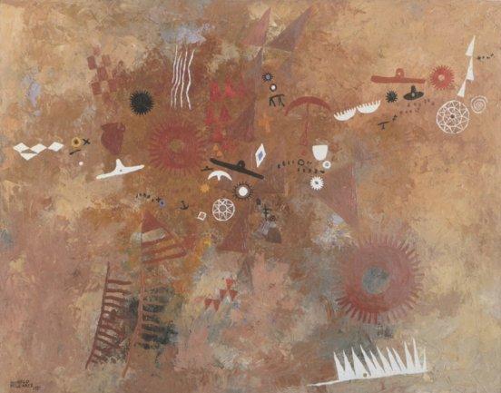 Manuel Millares. Aborigen nº1, 1951. 75x95 cm. Oil on canvas. C.A.C. Bodegas Vega Sicilia, S.A. - Museo Patio Herreriano, Valladolid