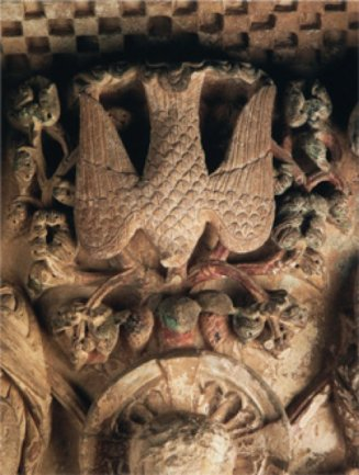 Susan Philipsz. Zona superior del relieve del Árbol de Jesé. Claustro de la Abadía de Santo Domingo de Silos (Burgos). Foto: Manuel Labrado