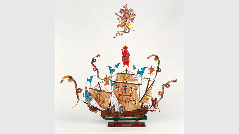 León Ferrari, Santa María (Saint Mary) (Caravel, detail of Justice/1492–1992. The Five Hundredth Anniversary of The Conquest), 1992. Installation