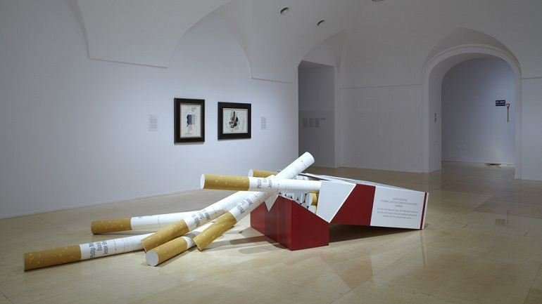 Exhibition view. Hans Haacke. Castles in the Air, 2012