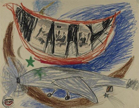 Lee Lozano. Sin título [No title], ca. 1961-62. Grafito y lápices de colores sobre papel. Pinault Collection