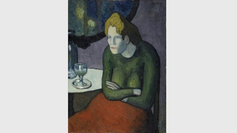 Pablo Picasso. Buveuse d'absinthe (The Absinthe Drinker), 1901. Oil on canvas, 81 x 60 cm. Im Obersteg Foundation, permanent loan to the Kunstmuseum Basel. Photography: Mark Gisler, Müllheim
