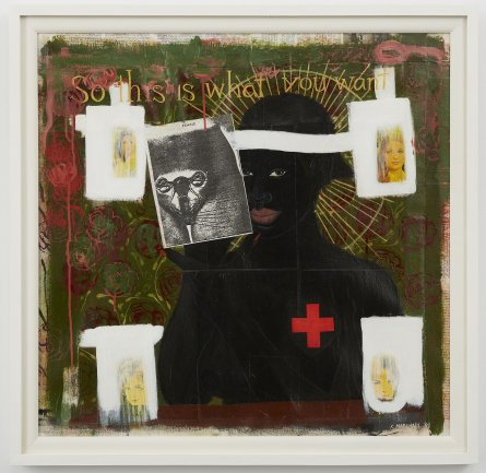 Kerry James Marshall, So This Is What You Want? (¿Así que esto es lo que quieres?), 1992. Acrílico y collage sobre lienzo. 83,8 x 81,3 cm. Colección de Daryl Gerber Stokols