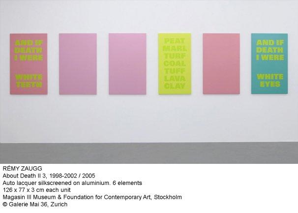 Rémy Zaugg. About Death II 3, 1998-2002 / 2005
