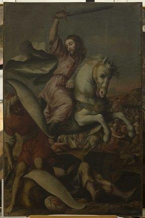 Santiago batallando con los moros sin el marco