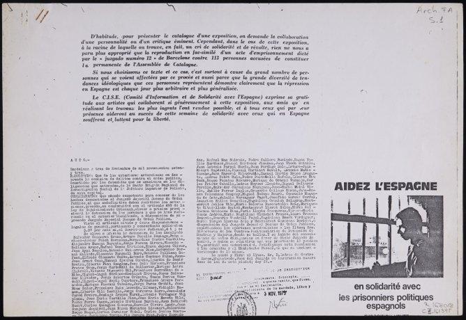 """Aidez l'Espagne"". 1974. Archivo Francesc Abad. Centro de Documentación"