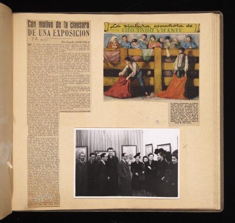 Exposición de Eduardo Vicente, 1944: recortes de prensa y fotografía. Álbum 1943-1944. Archivo Biosca. Centro de Documentación
