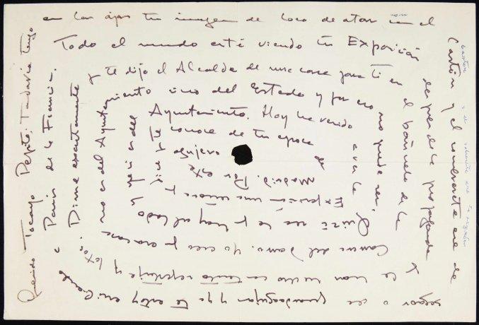 Carta autógrafa de Manuel Orozco a Manuel Ángeles Ortiz. Archivo Manuel Ángeles Ortiz. Centro de Documentación