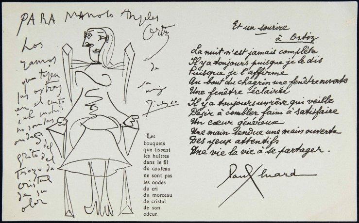 Invitación a la exposición de Manuel Ángeles Ortiz en la Galerie Henriette Niepce (1951) (reverso). Archivo Manuel Ángeles Ortiz. Centro de Documentación