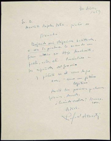Carta autógrafa de Rafael Alberti a Manuel Ángeles Ortiz (1959). Archivo Manuel Ángeles Ortiz. Centro de Documentación