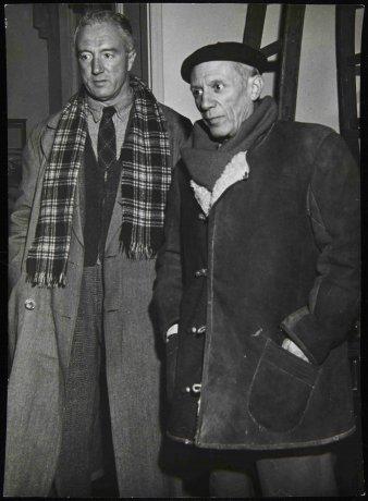 Fotografía de Manuel Ángeles Ortiz con Pablo Picasso (1950). Archivo Manuel Ángeles Ortiz. Centro de Documentación