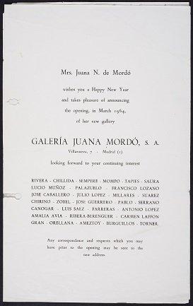 Invitación para la inauguración de la Galería Juana Mordó (1974). Archivo de la Galería Juana Mordó. Centro de Documentación