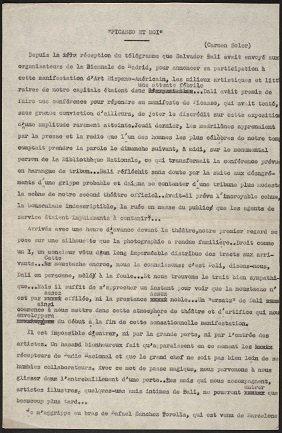 Picasso et moi [fragmento]. Manuscrito mecanografiado de Juana Mordó, firmado con el seudónimo Carmen Soler (1951?). Archivo de la Galería Juana Mordó. Centro de Documentación