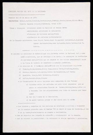 Acta de la Comisión Función del Arte en la Sociedad (20/4/70). Archivo Redor-Calabuig. Centro de Documentación