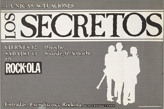 Los Secretos (1982). Diseño: Pepo Perandones. Archivo Carteles de la Sala Rock-ola / Lorenzo Rodríguez. Centro de Documentación
