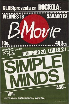 B-Movie. Simple Minds (1981). Diseño: Pepo Perandones. Archivo Carteles de la Sala Rock-ola / Lorenzo Rodríguez. Centro de Documentación