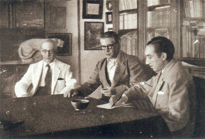 Solana con su hermano Manuel y el crítico Sánchez Camargo. 1945. Archivo Solana. Centro de Documentación