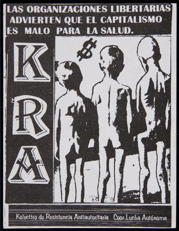 Pegatina del Kolectivo de Resistencia Antiautoritaria. Archivo Quico Rivas. Centro de Documentación